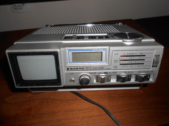 Mini Tv E Rádio Am/fm Quartz Clock. Sanyo. Coleção Made In