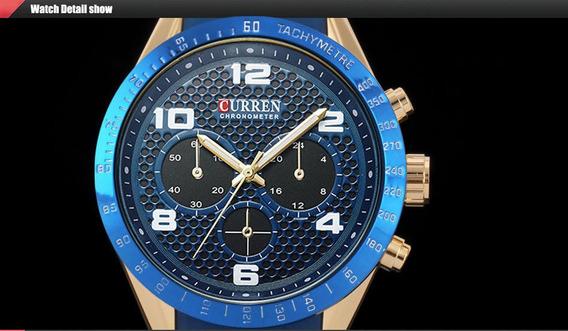 Relógio Curren Mod 8167 Azul Quartz Sport Masculino Aço Inox