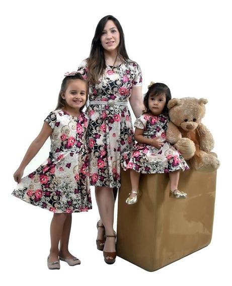 Vestido Tal Mãe Tal Filhas Modelo Godê Midi (1 Adulto E 2 Infantis)