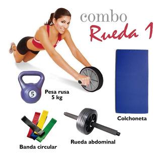 Combo Rueda 1 Rueda Abdominal Colchoneta Pesa Rusa Banda