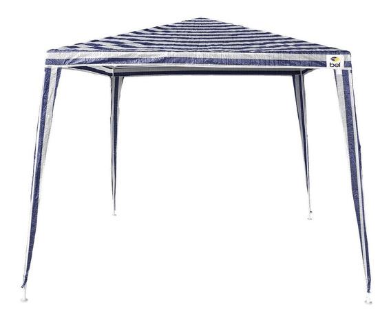 Tenda Gazebo Branca/azul Em Polietileno 3x3 Metros Belfix