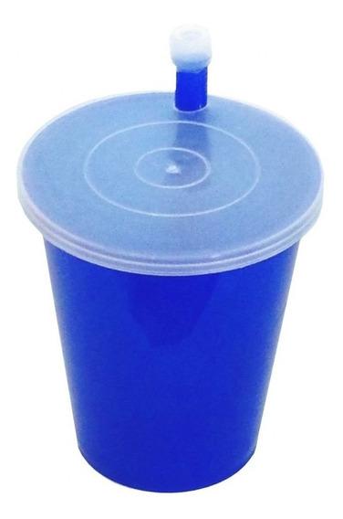 Copo Canudo Plastico C/ Tampa 200ml Colorido Pag 1 Leve 2