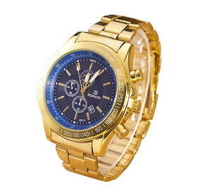 Relógio Ouro Masculino Aço Inoxidável Azul