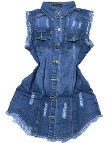 Colete Comprido Jeans Feminino Max Moda 2019 Promoção