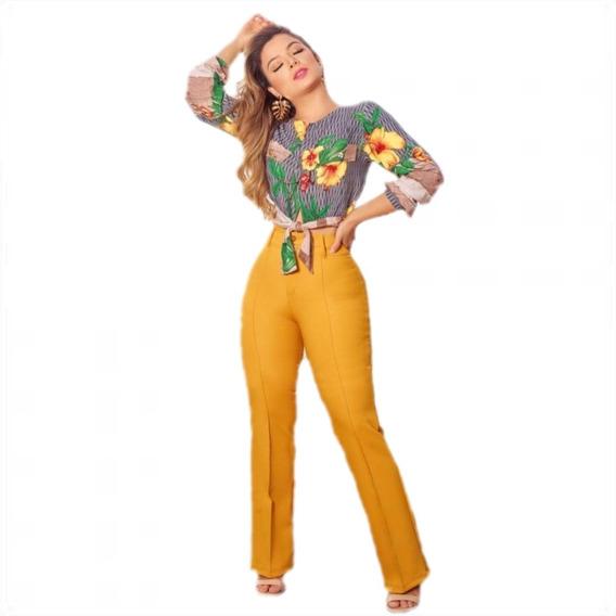 Conjunto Feminino Calça Alfaiataria Flare + Cropped Social Ouro Cacf01