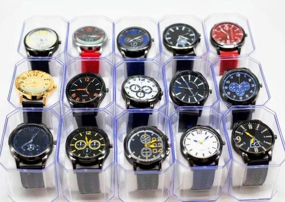 Kit Com 2 Relógios Masculino + 2 Caixas + Duas Baterias