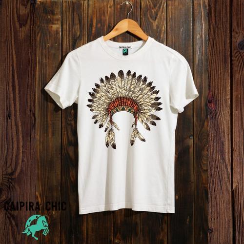 Imagem 1 de 4 de Camiseta Country, Cocar Índio, Unissex - Caipira Chic