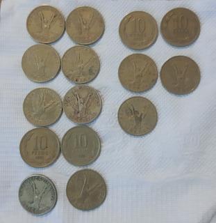 Monedas 10 Pesos Antiguas Chilenas. Ángel De La Libertad