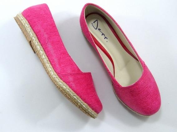 Alpargata Rasteira Jeans Rosa Pink Bico Redondo