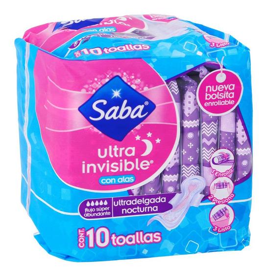 Saba Toalla C/alas Ultra Invisible Flujo Súper Abundante10pz