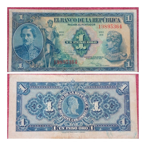 Imagen 1 de 1 de Billete De 1 Peso Oro De 1950