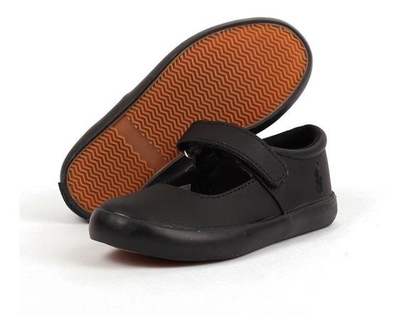 Zapato Escolar Polo Ralph Lauren Para Niña Negro Con Látigo