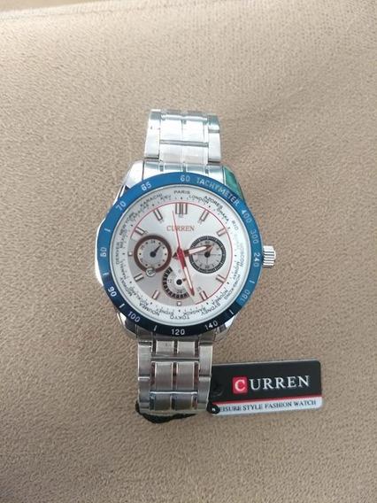 Relógio Curren Sport - Prata Azul E Branco -modelo 8150