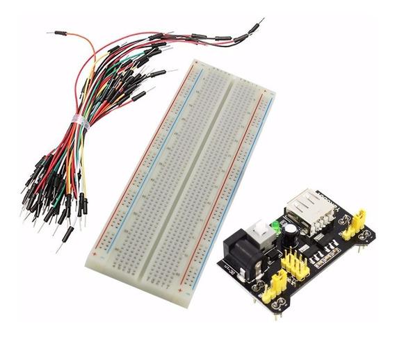 Kit Protoboard 830 Furos + Modulo Alimentação + 65 Jumpers