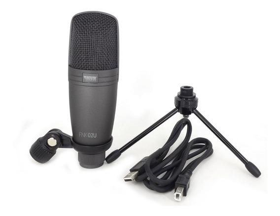 Microfone Para Gravação Novik Fnk02u Usb Ligação Direta Pc