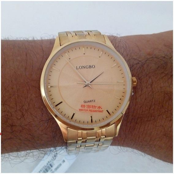 Relógio Masculino Dourado Longbo 80266 Original Social Vip