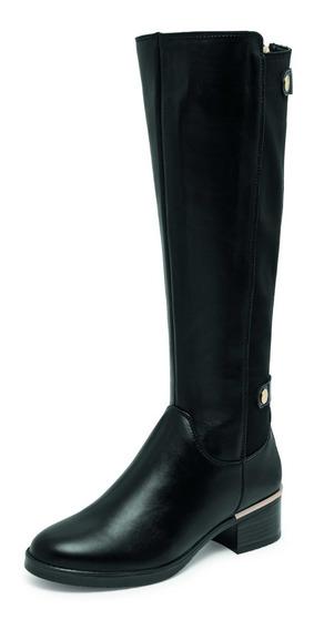 Bota Larga Tacon Mujer Negro Zapato Casual 7002