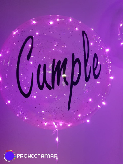 6 Globos Burbuja Gigante Cristal C/luz Rosa+ Personalizados