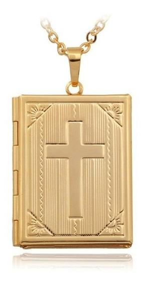 Colar Masculino Feminino Relicário Bíblia Sagrada Semi Joias Folheado Em Ouro Amarelo De Excelente Qualidade Importado