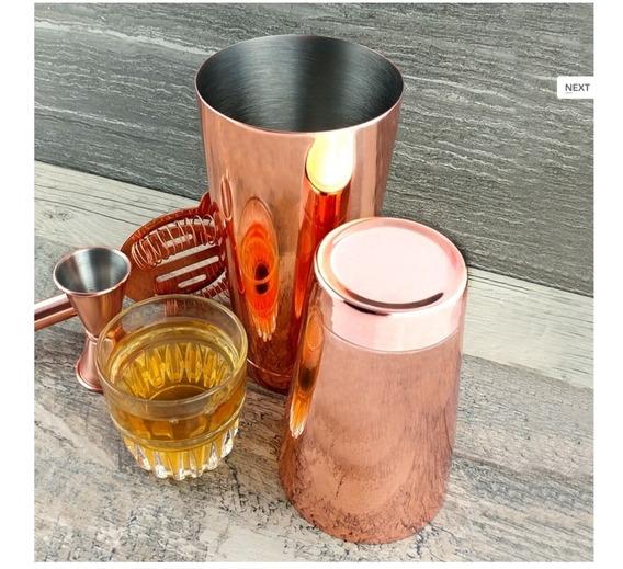 Set Bartender Bronce Coctelera Boston + Colador + Cucharilla
