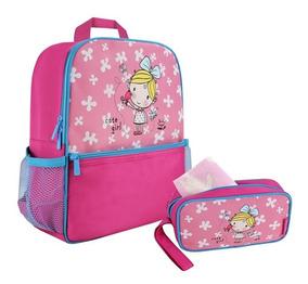 Mochila Infantil Menina E Estojo Rosa Jacki Design