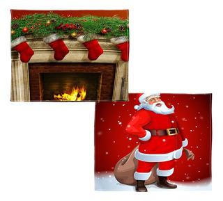 Manta De Franela Sofá Cama Lanzar Santa Claus Chimenea