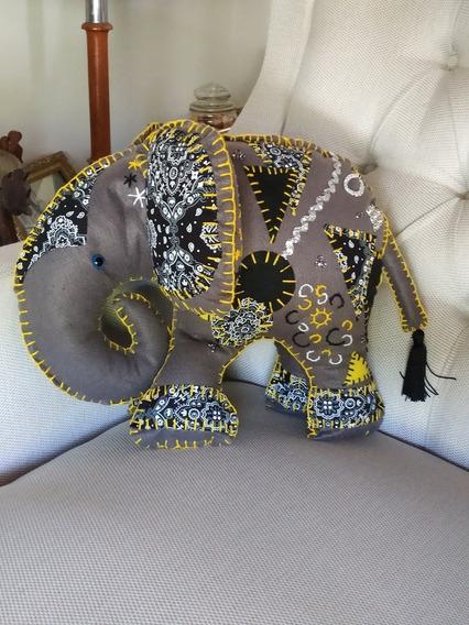Almofada Decoração Enfeite Elefante Indiano Bordado Bandana