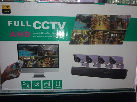 Kit Dvr Ahd 4 Cámaras Vga Hdmi Cables Fuente Cctv