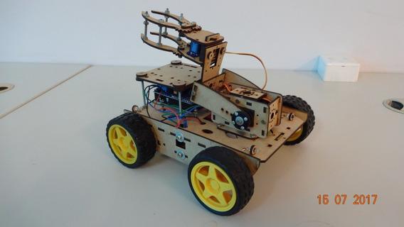 Chassi Robô Carro 4 Rodas Hermes + Suporte E Garra P Arduino