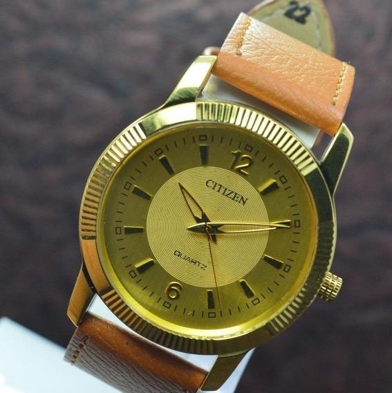Relógio Citizen Banhado A Ouro Quartzo Pulseira De Couro