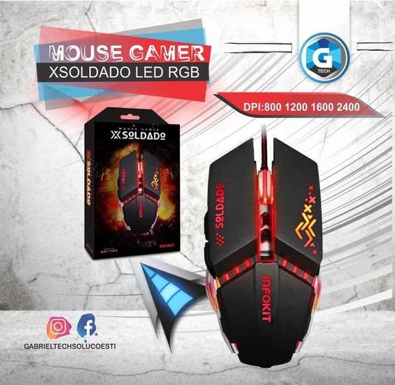 Mouse Gamer Usb C Iluminação Led Rgb Gm-705 Infokit