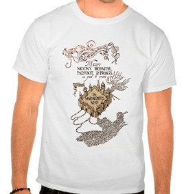 Camiseta Branca Harry Potter Marauders Map