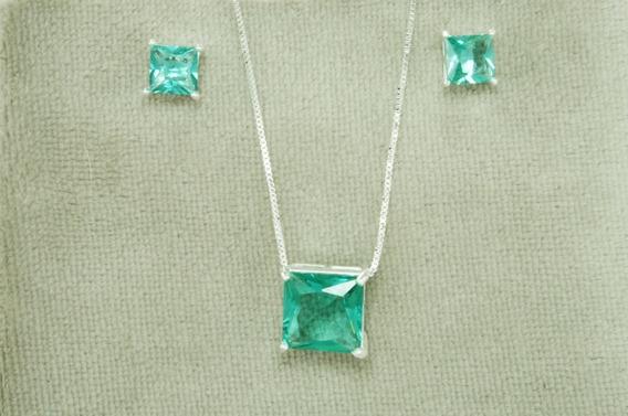 Conjunto Colar Brinco Quadrado Pedra Verde (m23) Prata 925