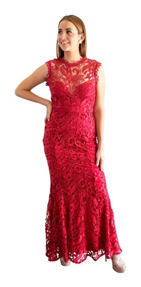 Vázquez Lara Vestido Largo Rojo Quemado De Encaje