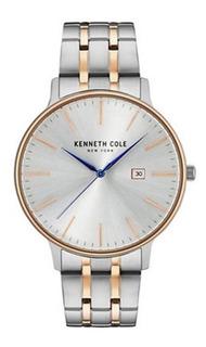 Reloj Kenneth Cole Kc15095003 Dorado Plateado Sumergible