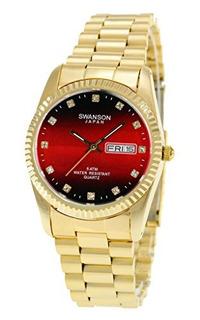 Swanson Mens Gold Daydate Reloj Red Stone Dial Con Estuche D