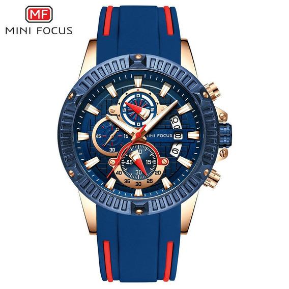 Mini Focus Relógio Masculino Azul Dourado Esportivo Borracha
