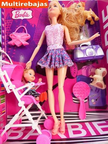 Imagen 1 de 6 de Muñeca Barbie / Set De Barbie De Caucho Con Asesorios