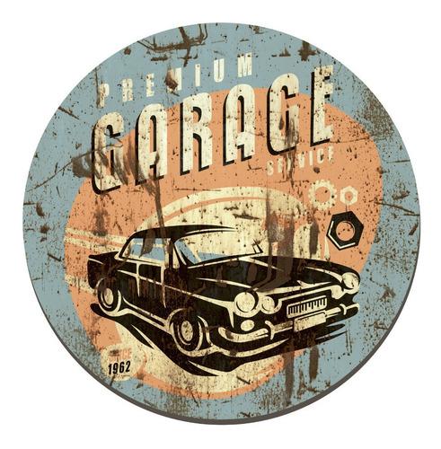 Imagen 1 de 4 de Placa Cuadro Decorativo Redondo 29cm Preimum Garage