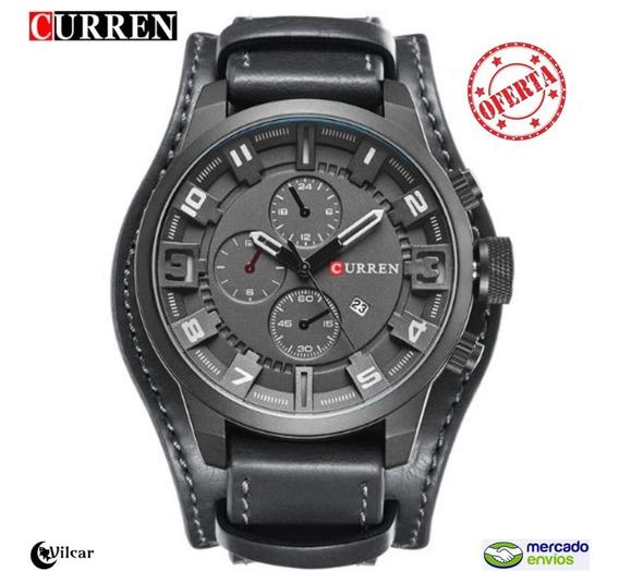 Relógio Masculino Curren 8225 Pulseira Em Couro - Pto/bco
