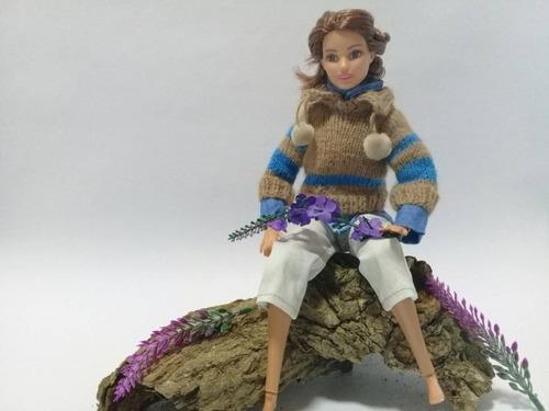 Imagen 1 de 5 de Conjunto Para Barbie , Suéter ,camisa Y Pantalón De Muñeca.
