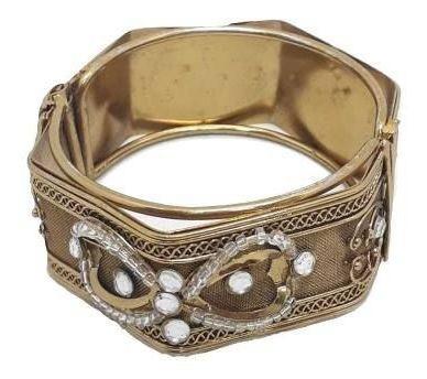 Bracelete Feminino Indiano De Metal Dourado