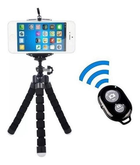 Kit Selfie Mini Tripe + Controle Bluetooth Android Ios