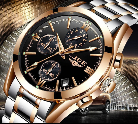 Relógio Masculino Lige 9839 Prata Azul Dourado Prova D