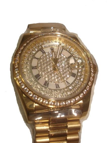 Reloj Nuevo Rolex Day-date Automatic Color Oro Swarovsky