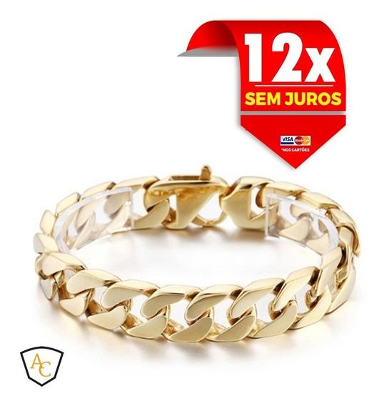 Pulseira Para Homens Maciça Grossa Pesada Bonita 14mm Ouro