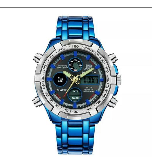 Relógio Dourado Prata Amuda Masculino Luxo Original Promoção