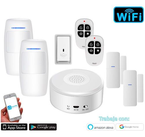 Imagen 1 de 8 de Kit 4 Alarma Casa Inalámbrica Wifi Celular App Smartlife