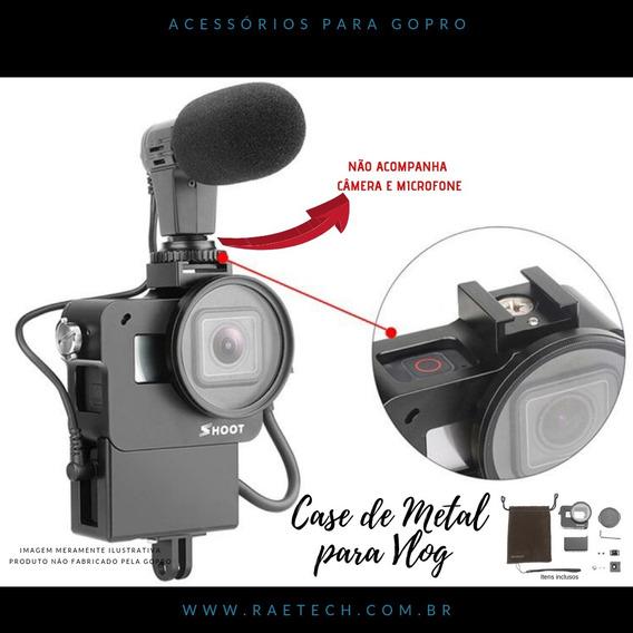 Case De Metal Para Microfone E Adaptador Gopro Hero 5 6 7 Go