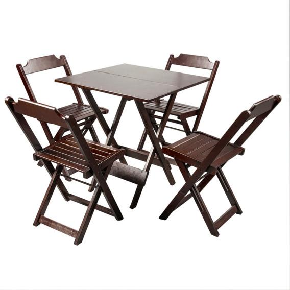Jogos Conjuntos Mesa Bar Dobrável Madeira 70x70 4 Cadeiras